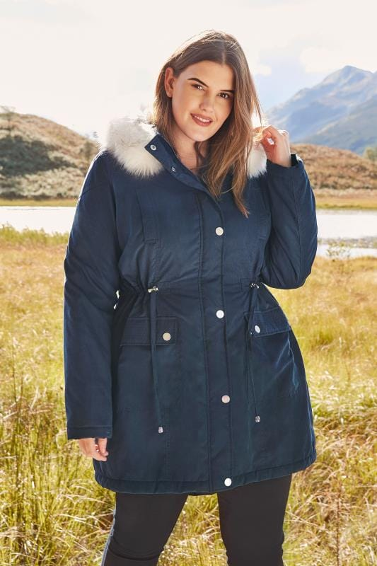 Plus Size Coats Navy Lined Parka With Faux Fur Trim Hood
