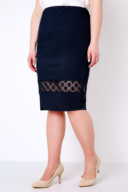 Navy Pencil Skirt With Polka Dot Mesh Insert