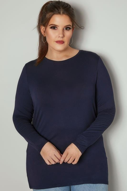 Grote maten Grote maten Jersey Shirts Navy Long Sleeve Soft Touch Jersey Top