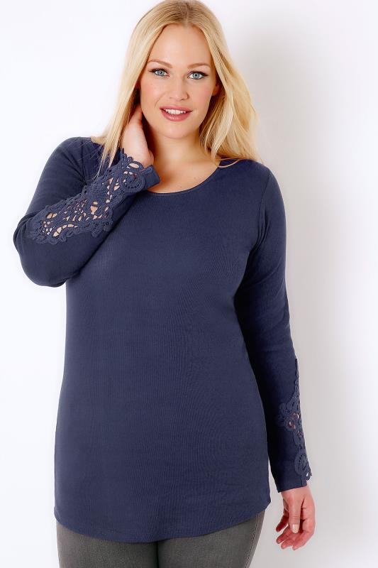 Navy Long Sleeve T-Shirt With Crochet Detail