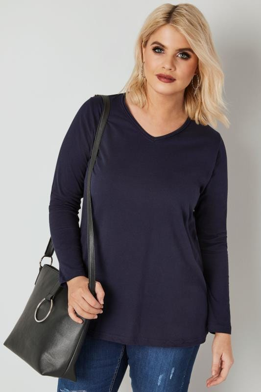 Navy Long Sleeved V-Neck Jersey Top