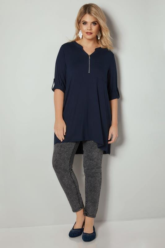 Navy Longline Top With Zip Front