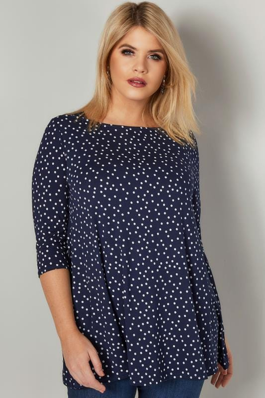 Longline Tops Navy Longline Polka Dot Print Top With Envelope Neckline 134327