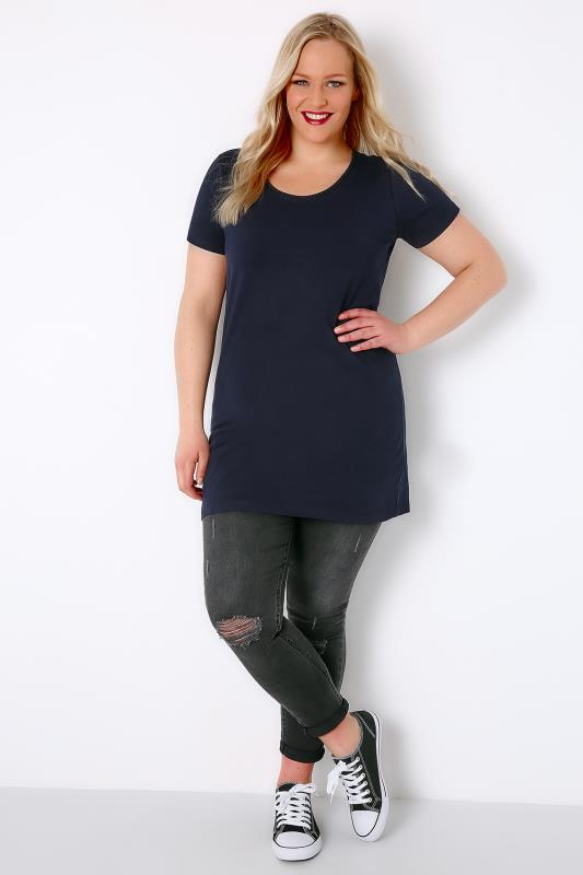 Navy Longline T-Shirt With Scooped Neck