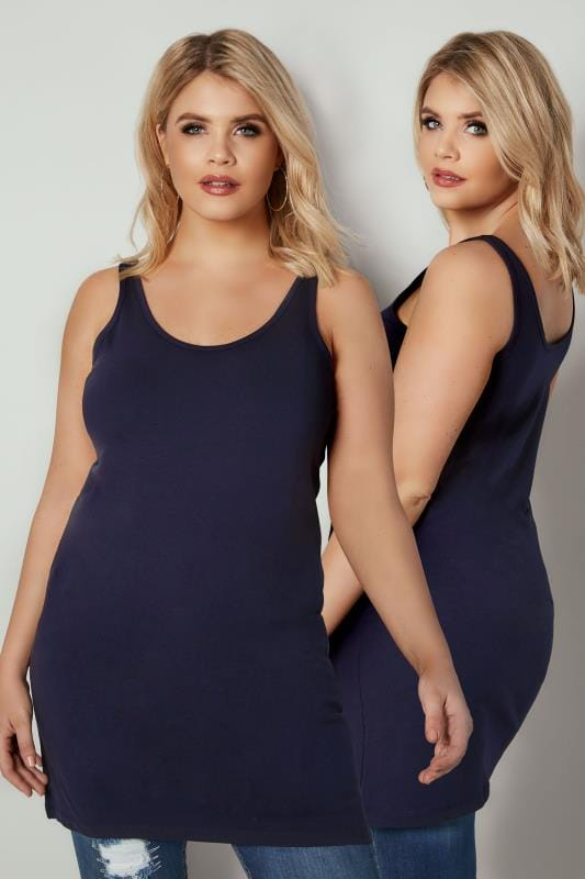 Plus Size Vests & Camis Navy Longline Vest Top