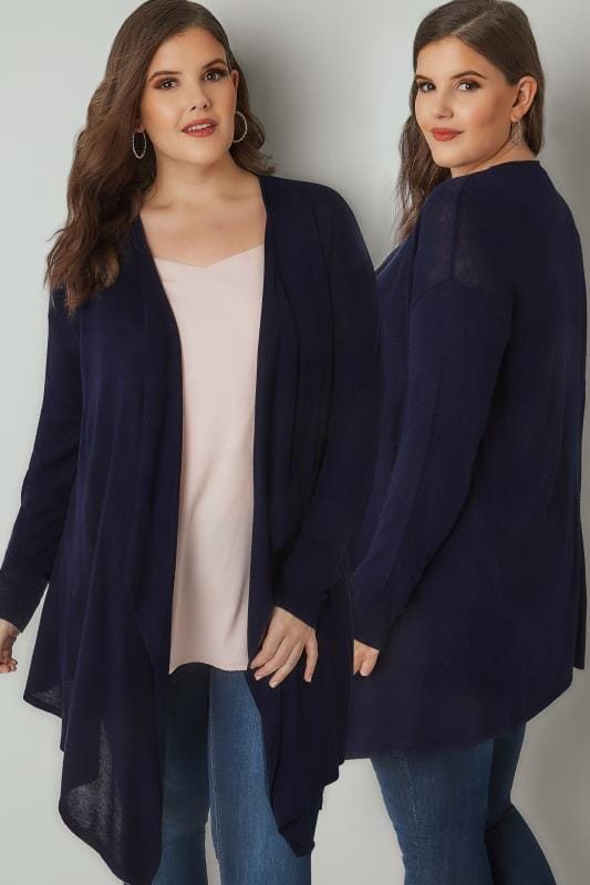 Navy Longline Waterfall Cardigan
