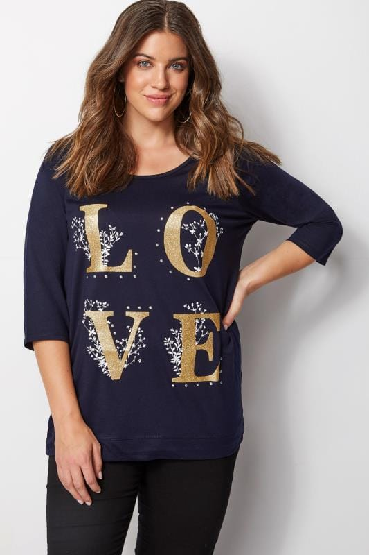 Plus Size T-Shirts Navy 'Love' T-Shirt