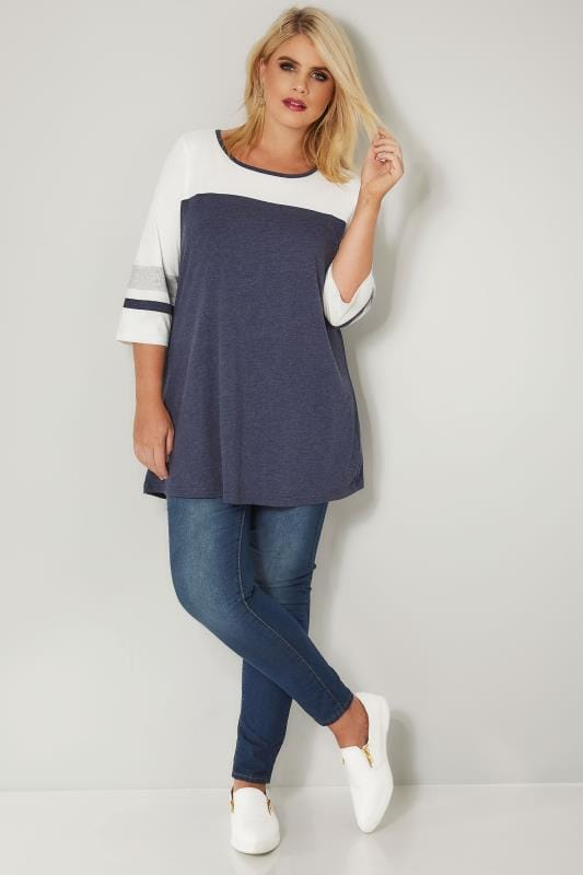 Navy Marl Colour Block Top