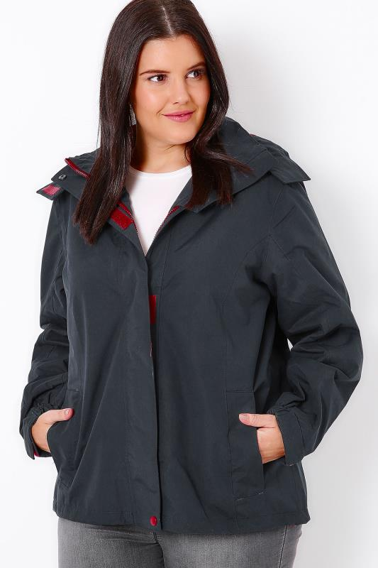 Navy & Maroon Waterproof Rain Jacket With Removable Hood