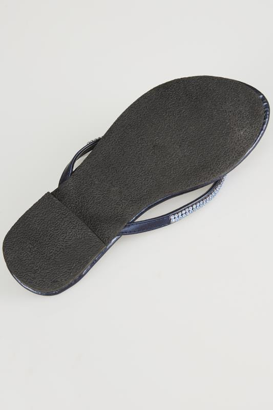 Navy Metallic Flip Flop With Diamante Trim In TRUE EEE Fit