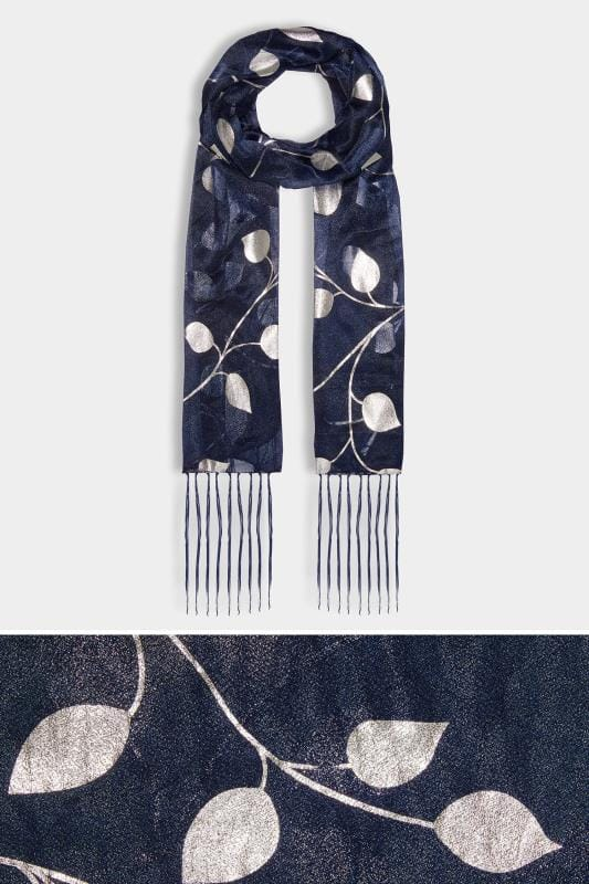 Navy & Metallic Leaf Print Scarf With Tassels