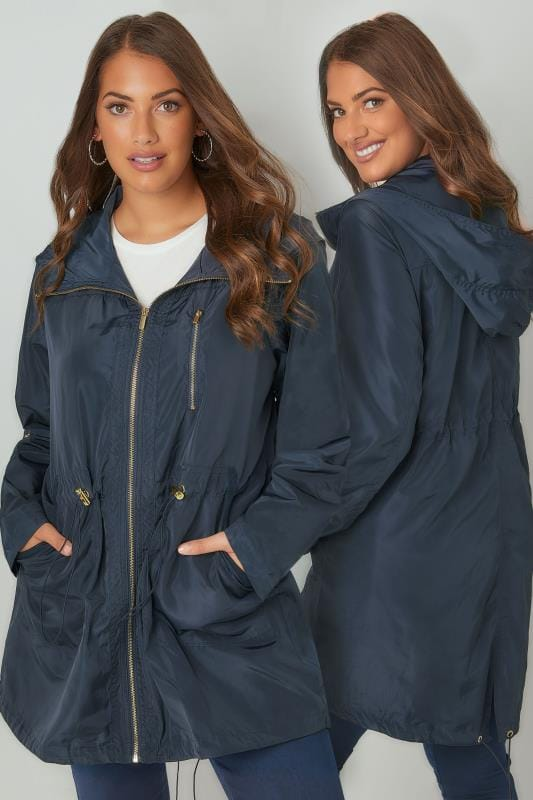 Navy Minimalist Parka Jacket With High Zip Up Neck