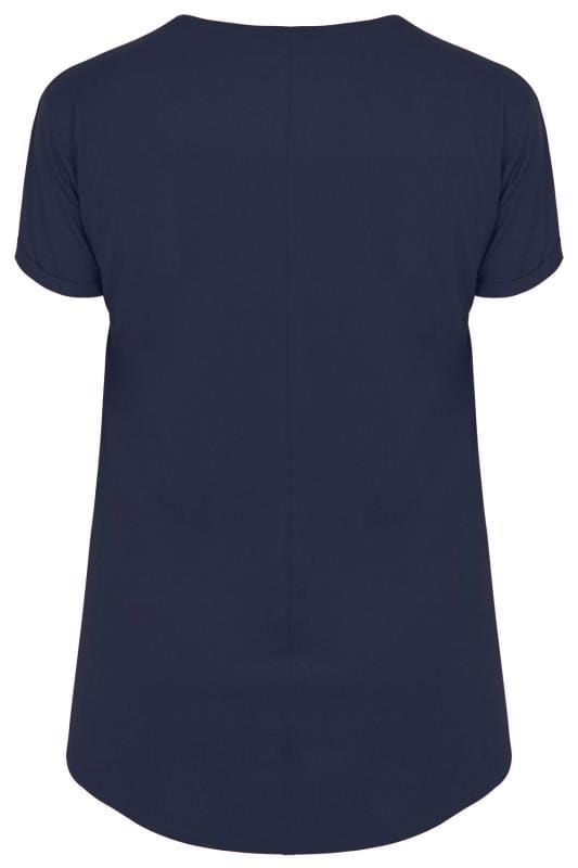 Navy Mock Pocket T Shirt Plus Size 16 To 36