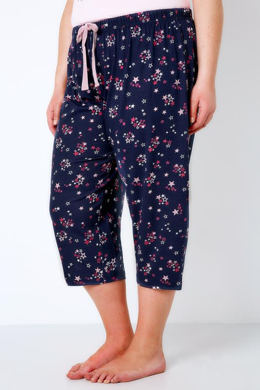 Navy & Multi All Over Star Print Cropped Pyjama Bottoms