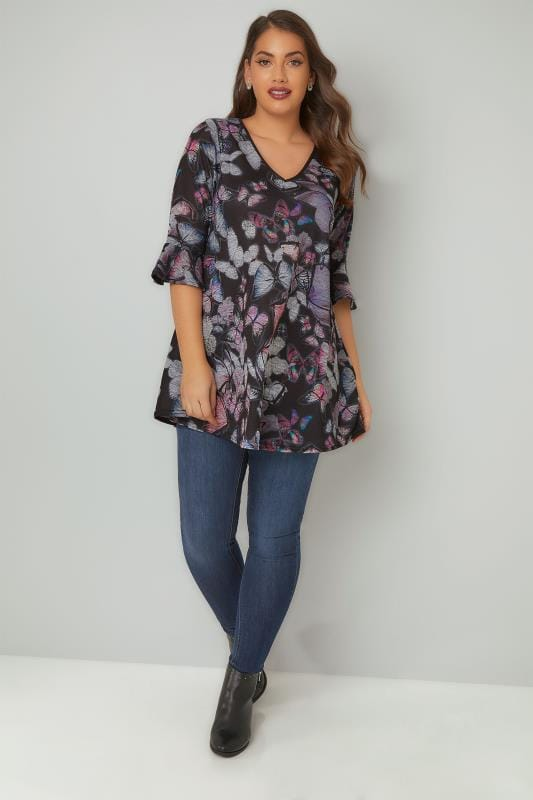 Navy & Multi Butterfly Print Top With PU Trim & Frill Cuffs