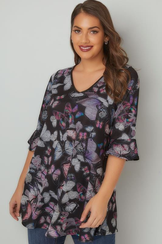 Plus Size Day Tops Navy & Multi Butterfly Print Top With PU Trim & Frill Cuffs