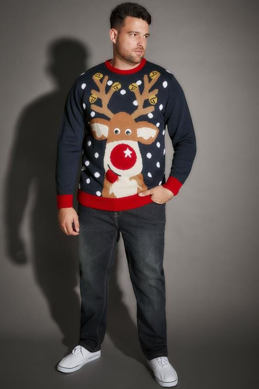 BadRhino Navy Christmas Reindeer Knitted Jumper