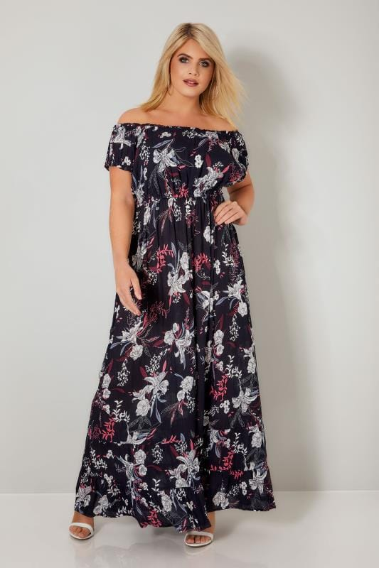 Plus Size Maxi Dresses Navy & Multi Floral Gypsy Sequin Embellished Maxi Dress
