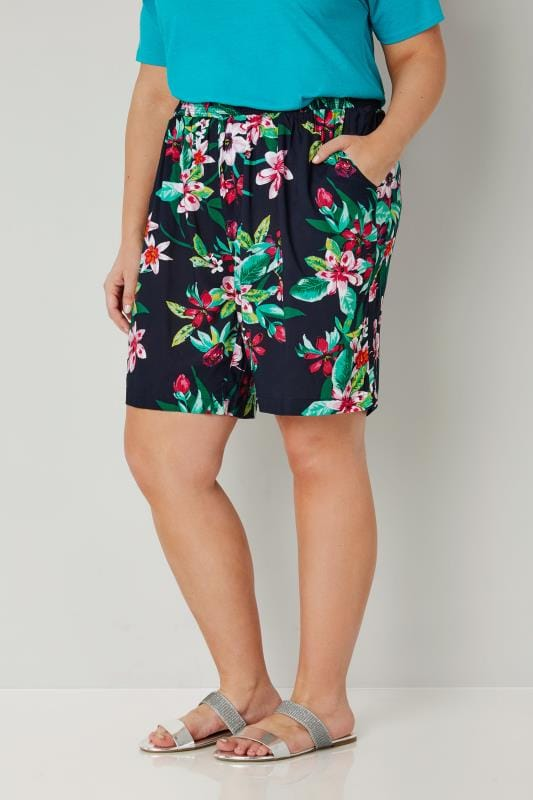 Plus Size Fashion Shorts Navy & Multi Floral Hibiscus Smock Shorts