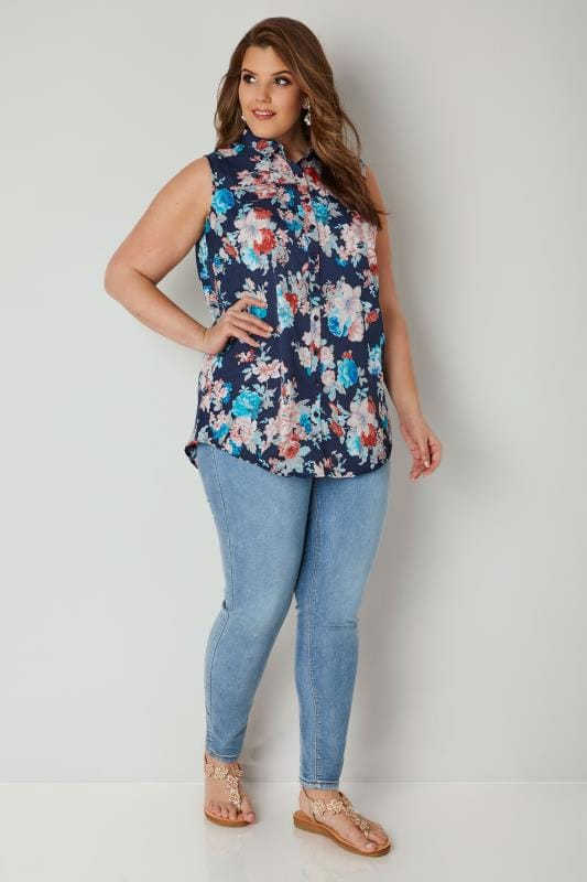 Navy & Multi Floral Print Sleeveless Shirt