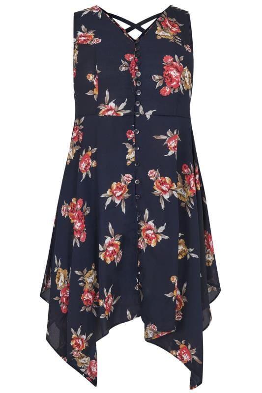 Navy & Multi Floral Print Sleeveless Top With Cross Over Back & Hanky Hem