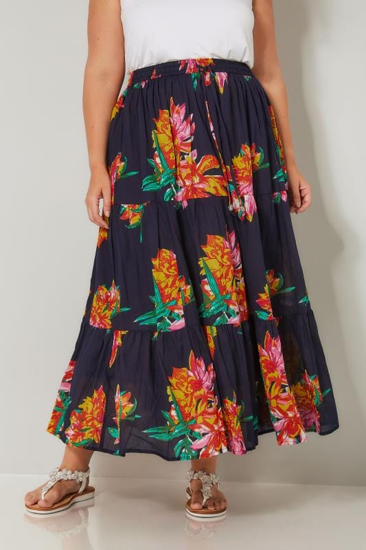Plus Size Maxi Skirts Navy & Multi Floral Print Tiered Maxi Skirt