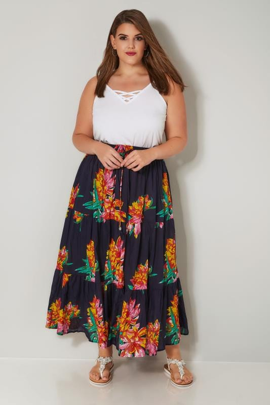 Navy & Multi Floral Print Tiered Maxi Skirt
