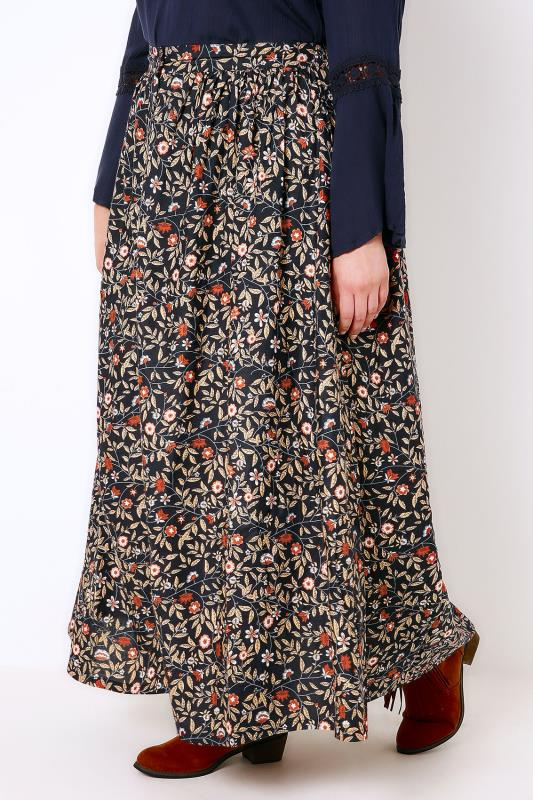Navy & Multi Floral Print Vintage Maxi Skirt With Button Close