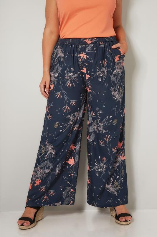 Plus Size Wide Leg & Palazzo Trousers Navy & Multi Floral Print Wide Leg Trousers