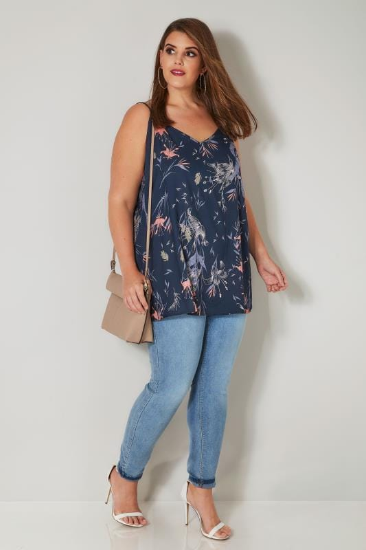 Navy & Multi Floral Print Woven Cami Top