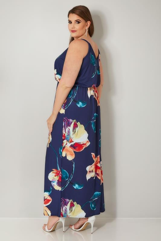 YOURS LONDON Navy Floral Blouson Waist Jersey Dress
