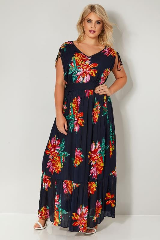 Plus Size Maxi Dresses Navy & Multi Sequin Embellished Floral Maxi Dress