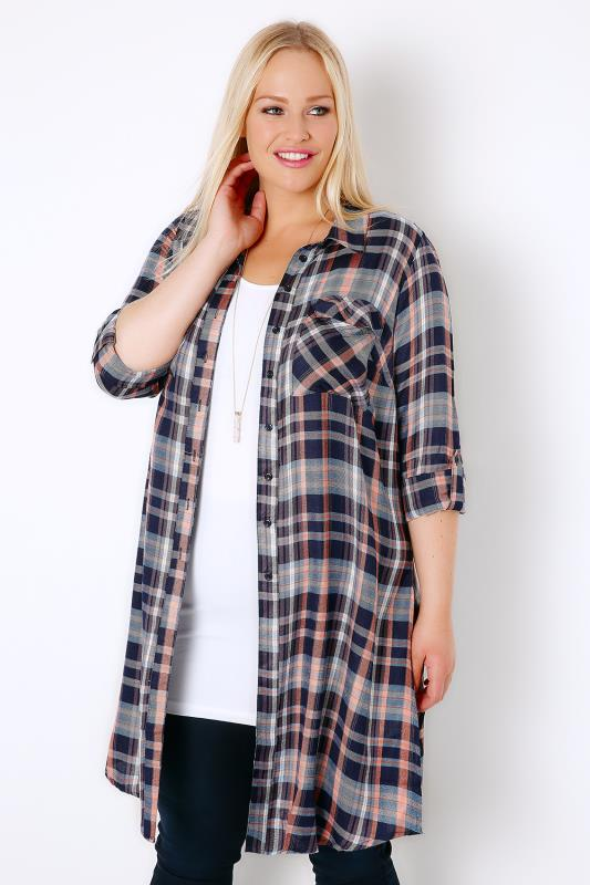 Navy & Coral Checked Longline Duster Shirt