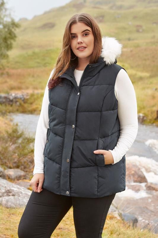 Plus Size Gilets Navy Padded Chevron Gilet With Faux Fur Trim Hood