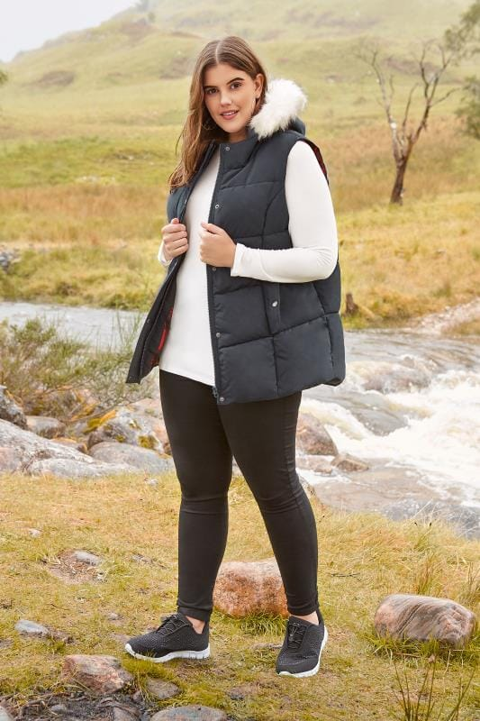Navy Padded Chevron Gilet With Faux Fur Trim Hood