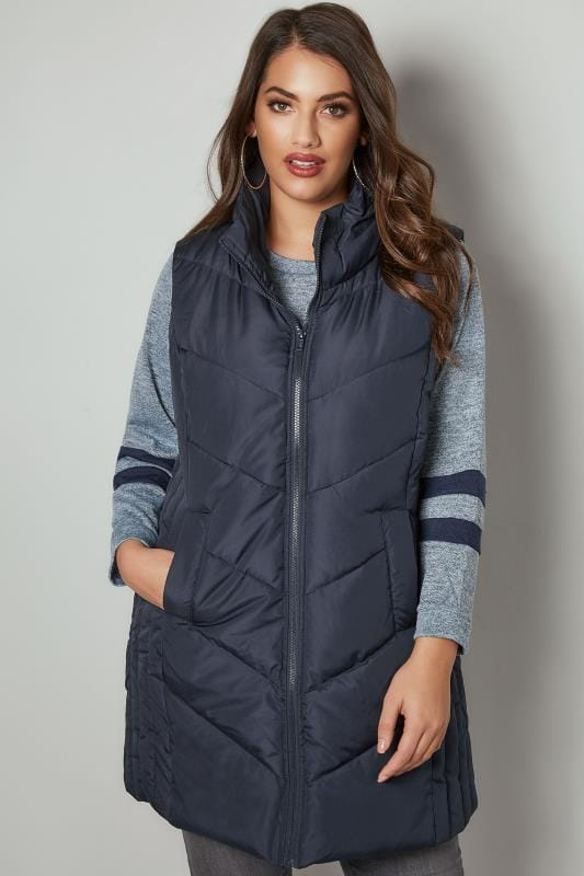 Plus Size Gilets Navy Padded Chevron Gilet With Foldaway Hood