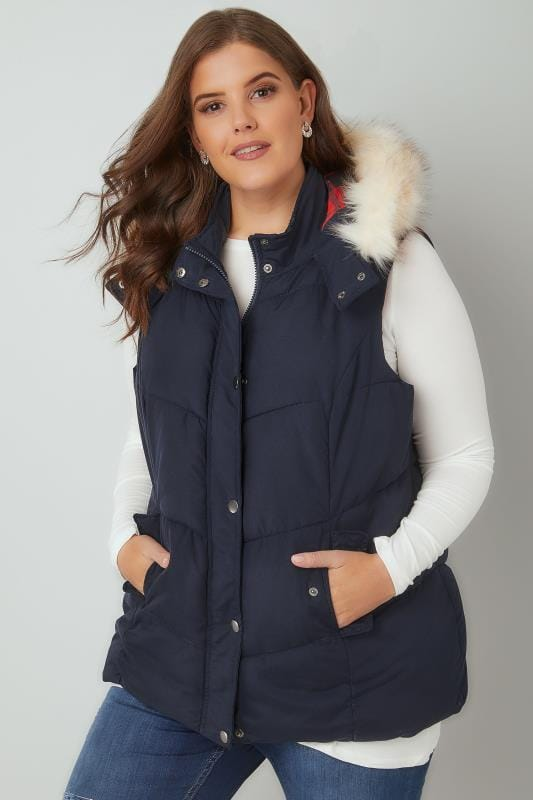 Navy Padded Gilet With Faux Fur Hood & Checked Lining