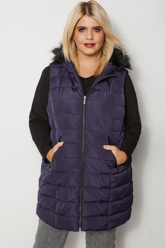 Plus Size Gilets Navy Padded Gilet With Faux Fur Trim Hood