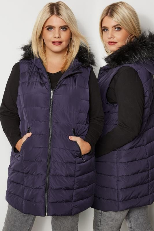 Purple Padded Gilet With Faux Fur Trim Hood