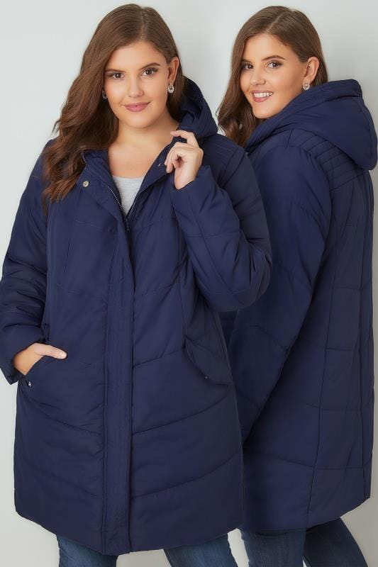 Plus Size Puffer & Quilted Jackets Navy Padded Puffer Jacket With Hood