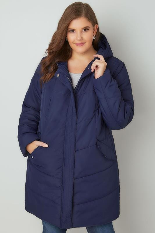 Navy Padded Puffer Jacket With Hood