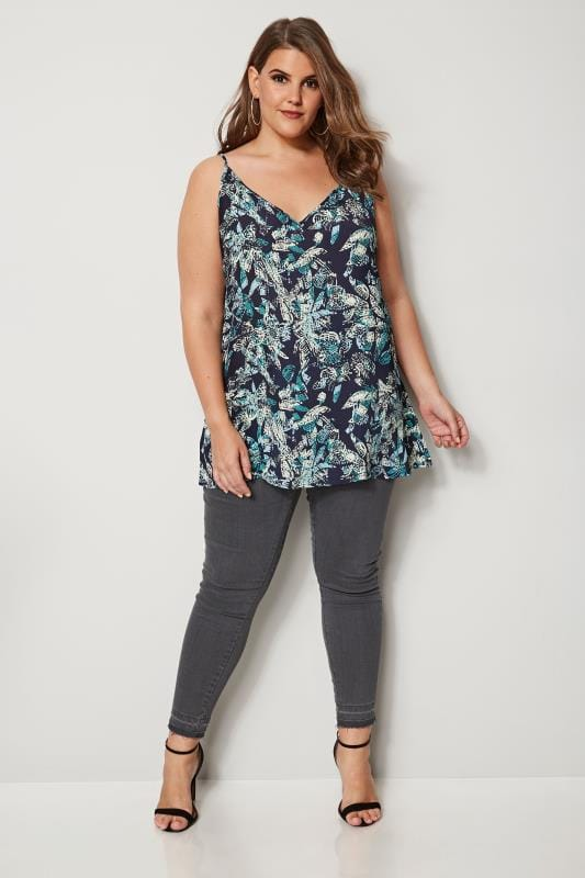Navy Palm Print Woven Cami Top