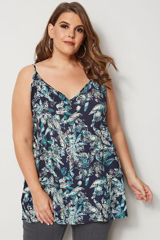Plus Size Vests & Camis Navy Palm Print Woven Cami Top