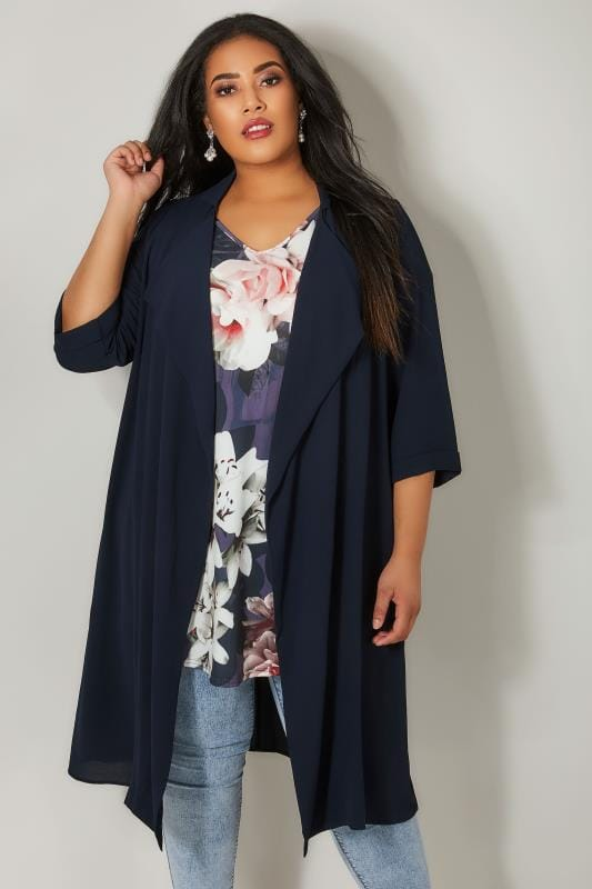 Navy Panelled Duster Jacket With Waterfall Front & Half Sleeves