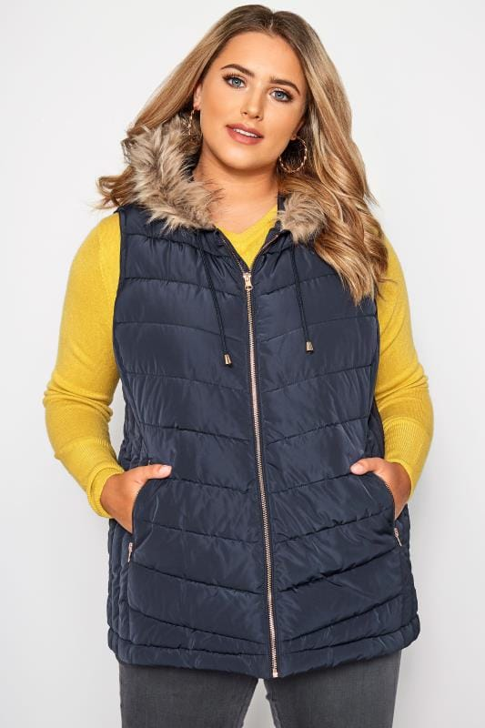 Navy Panelled Gilet With Faux Fur Trim Hood
