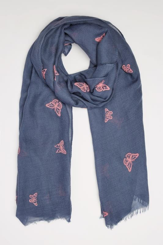 Navy & Pink Butterfly Print Scarf