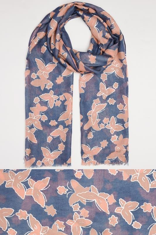 Navy & Pink Butterfly Print Scarf With Gold Foil Detail