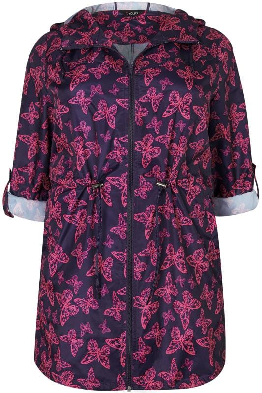 Parka Coats Navy & Pink Butterfly Print Shower Proof Lightweight Pocket Parka Jacket 120102