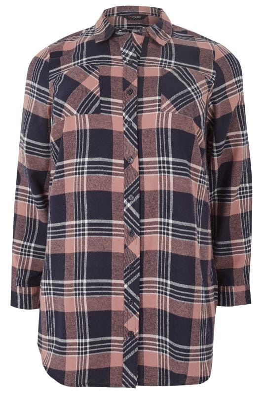 Plus Size Shirts Navy & Pink Check Shirt