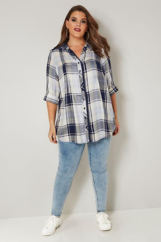 Navy & Pink Check Pintuck Shirt